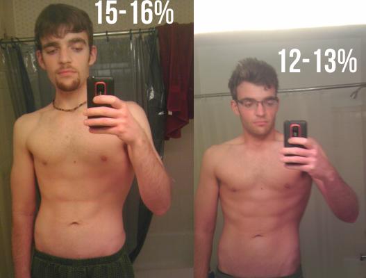 male body fat percentage comparison