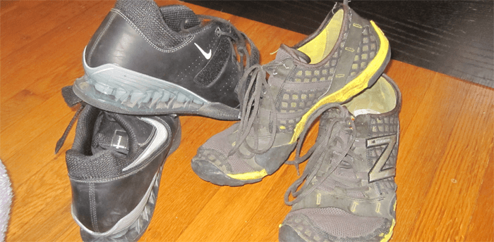 New Balance Minimus and Nike Romaleos II for Home Garage Gym