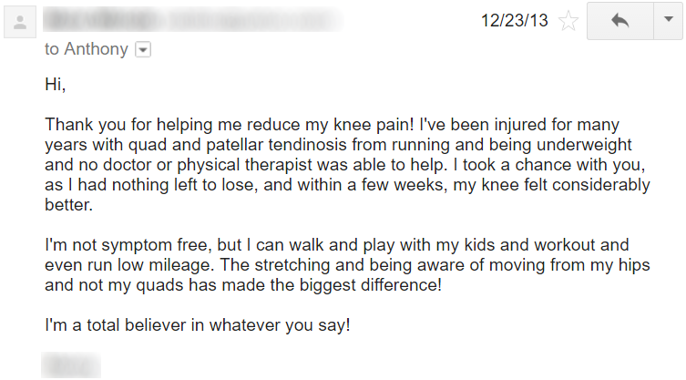 an athlete's guide to chronic knee pain testimonial