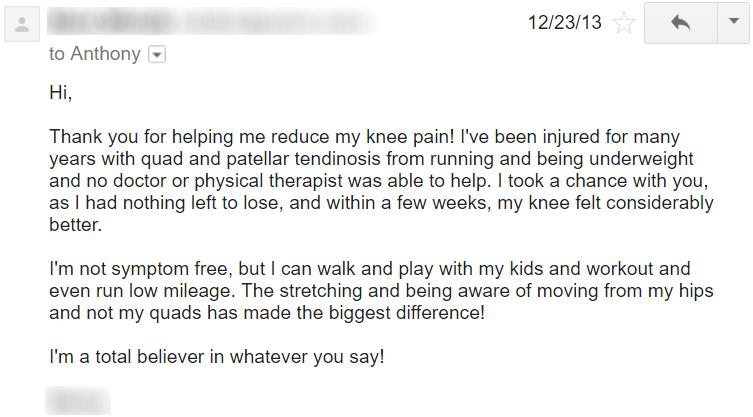 an athlete's guide to chronic knee pain testimonial