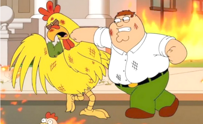 peter griffin fighting chicken