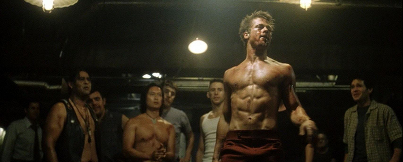 brad pitt fight club lean and defined body